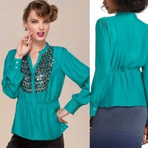 {Anthro} Meave teal peplum blouse with sequins L